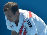 Czech Republic's Radek Stepanek reacts during his men's singles match against Slovenia's Blaz Kavcic on day two of the 2014 Australian Open tennis tournament in Melbourne on January 14, 2014