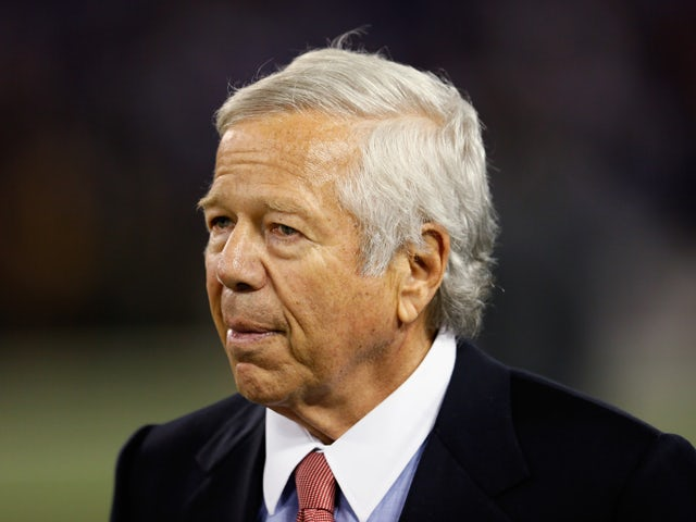 New England Patriots owner Robert Kraft watches his team during warm ups prior to the start of their game against the Baltimore Ravens at M&T Bank Stadium on September 23, 2012