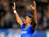 Chelsea's Samuel Eto'o celebrates after completing his hat-trick against Man United during their Premier League match on January 19, 2014