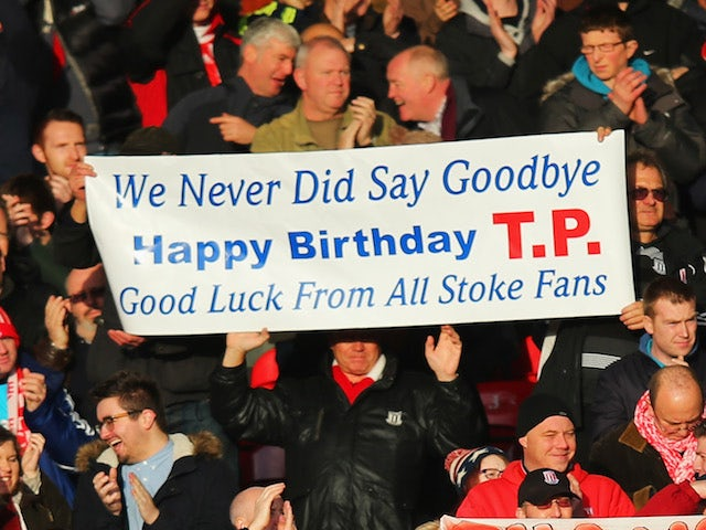 Stoke City fans display banners for former manager Tony Pulis prior to the Barclays Premier League match between Crystal Palace and Stoke City at Selhurst Park on January 18, 2014