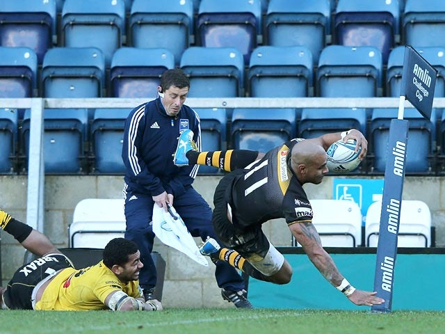 London Wasps' Tom Varndell scores a try against Viadana during their Challenge Cup match on January 19, 2014