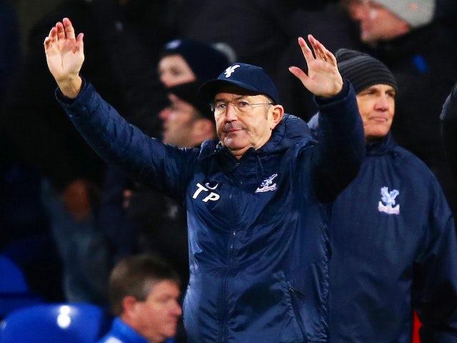 Crystal Palace manager Tony Pulis celebrates victory against Stoke City on January 18, 2014