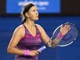 Victoria Azarenka celebrates victory over Yvonne Meusburger in their Australian Open third round match on January 18, 2014
