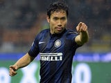Inter Milan's Japanese midfielder Yuto Nagatomo celebrates after scoring a goal during an Italian Serie A football match between Inter Milan and Chievo Verona on January 13, 2014