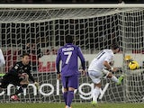 Alberto Gilardino of Genoa CFC scores the opening goal during the Serie A match between ACF Fiorentina and Genoa CFC at Stadio Artemio Franchi on January 26, 2014