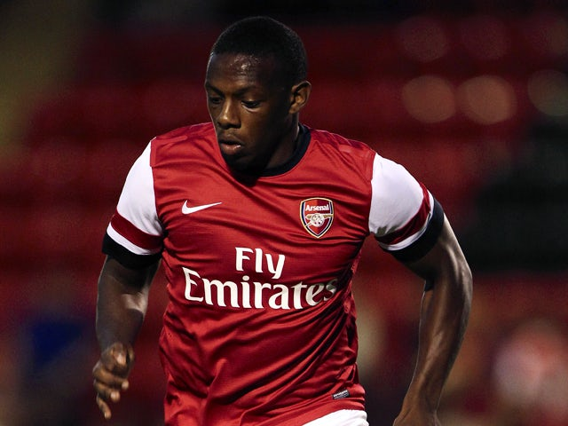 Anthony Jeffrey of Arsenal in action during a pre season friendly match between Leyton Orient and an Arsenal XI at the Matchroom Stadium on July 30, 2013