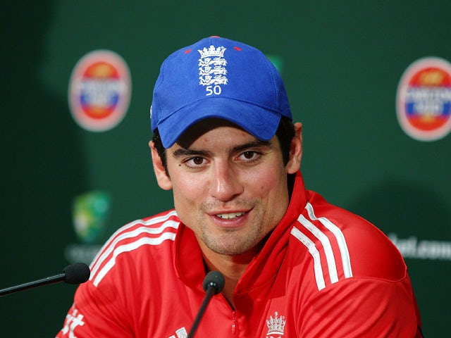 Alastair Cook of England speaks at a press conference after defeating Australia during game four of the One Day International series between Australia and England at WACA on January 24, 2014