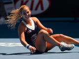 Slovakia's Dominika Cibulkova celebrates after victory in her women's singles match against Romania's Simona Halep on day ten of the 2014 Australian Open tennis tournament in Melbourne on January 22, 2014