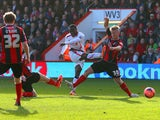 Matt Ritchie of Bournemouth fails to block Victor Moses of Liverpool as he scores the opening goal during the FA Cup Fourth Round match between Bournemouth and Liverpool at Goldsands Stadium on January 25, 2014