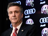 Washington Redskins Executive Vice President and General Manager Bruce Allen speaks as Jay Gruden is introduced as the new head coach of the Washington Redskins at a press conference at Redskins Park on January 9, 2014