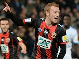 Nice's Belgian midfielder Christian Bruls reacts after scoring a goal against Marseille on January 21, 2014
