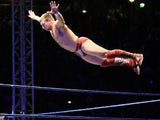 WWE Superstar Daniel Bryan flys off the ropes during the WWE Smackdown Live Tour at Westridge Park Tennis Stadium on July 08, 2011