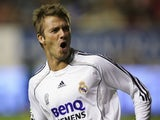 David Beckham celebrates scoring for Real Madrid against Osasuna on November 12, 2006.