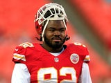 Nose tackle Dontari Poe #92 of the Kansas City Chiefs warms up prior to the preseason game against the Green Bay Packers at Arrowhead Stadium on August 29, 2013