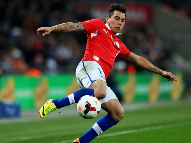 Eduardo Vargas of Chile in action during the international friendly match between England and Chile at Wembley Stadium on November 15, 2013