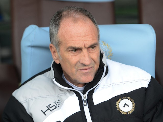 Head coach of Udinese Calcio Francesco Guidolin looks on during the Serie A match between Udinese Calcio and ACF Fiorentina at Stadio Friuli on November 24, 2013