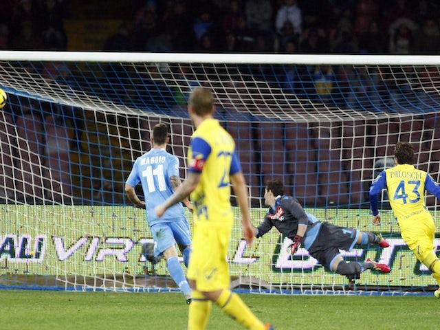 Genaro Sardo of Chievo Verona scores a goal during the Italian Serie A football match SSC Napoli vs AC Chievo Verona at San Paolo Stadium on January 25, 2014