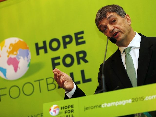 Former FIFA deputy general secretary Jerome Champagne addresses the Hope for Football press conference in London, on January 20, 2014