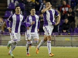 Valladolid's defender Jesus Jesus Rueda celebrates after scoring during the Spanish league football match Real Valladolid FC vs Villarreal CF at Jose Zorrila stadium in Valladolid on January 25, 2014