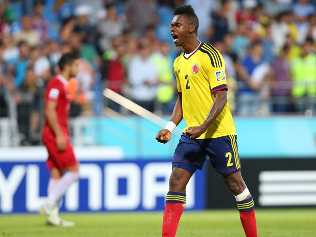 Colombia's Jherson Vergara reacts during the group stage football match between Turkey and Colombia at the FIFA Under 20 World Cup at the Yeni Sehir Stadium in Rize on June 25, 2013