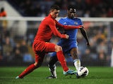 Kristoffer Peterson of Liverpool battles with Kevin Wright of Chelsea during the FA Youth Cup semi final second leg match between Chelsea and Liverpool at Stamford Bridge on April 19, 2013