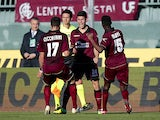 Marco Benassi of AS Livorno Calcio celebrates after scoring a goal during the Serie A match between AS Livorno Calcio and US Sassuolo Calcio at Stadio Armando Picchi on January 26, 2014