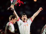 Mark Hughes celebrates with the Cup Winners' Cup trophy on May 15, 1991.