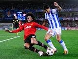 Marouane Fellaini performs a sliding tackle against Real Sociedad on November 05, 2013.
