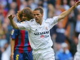 Michael Owen, then of Real Madrid, celebrates his goal against Barcelona on April 10, 2005.