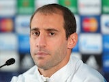 Pablo Zabaleta of Manchester City faces the media during a press conference at Carrington Training Ground on November 4, 2013