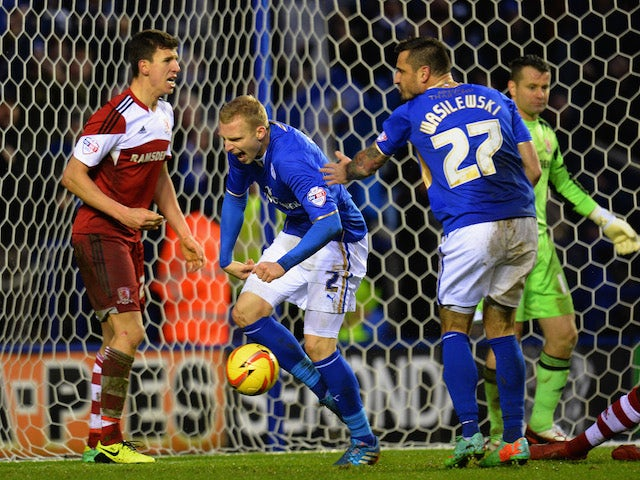 Richie De Laet of Leicester City celebrates after scoring during the Sky Bet Championship match against Middlesbrough on January 25, 2014