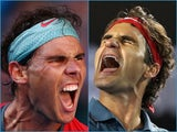 A collage of Roger Federer and Rafael Nadal at the 2014 Australian Open
