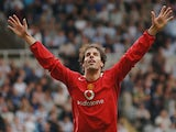 Ruud van Nistelrooy celebrates scoring against Newcastle United on August 28, 2005.