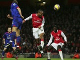 Thierry Henry, then of Arsenal, scores the winning goal against Manchester United on January 21, 2007.
