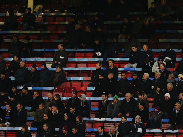 Sparsely populated stands during the Capital One Cup Semi-Final, Second Leg match between West Ham United and Manchester City at Boleyn Ground on January 21, 2014