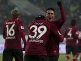 Hanover's midfielder Leonardo Bittencourt celebrates after scoring the second goal during the German first division Bundesliga football match Wolfsburg vs Hanover 96 in Wolfsburg, central Germany, on January 25, 2014