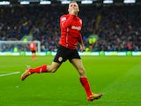 Craig Bellamy of Cardiff City celebrates as he scores their first goal during the Barclays Premier League match against Norwich City on February 1, 2014