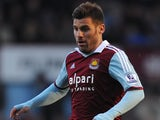 Antonio Nocerino of West Ham United in action during the Barclays Premier League match between West Ham United and Swansea City at Boleyn Ground on February 1, 2014
