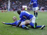 Kevin Phillips of Leicester City celebrates scoring a goal with Lloyd Dyer of Leicester City during the Sky Bet Championship match between Bournemouth and Leicester City at Goldsands Stadium on February 01, 2014