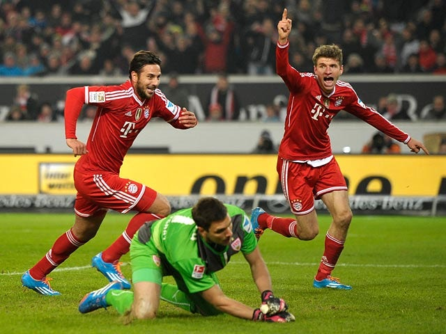 Bayern Munich's Claudio Pizarro celebrates after scoring his team's first goal against Stuttgart during their Bundesliga match on January 29, 2014