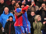 Jason Puncheon of Crystal Palace celebrates his goal with Yannick Bolasie during the Barclays Premier League match between Crystal Palace and Hull City at Selhurst Park on January 28, 2014