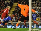 Fernando Torres, then of Liverpool, heads in a late goal against Chelsea on February 01, 2009.