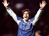 Gianfranco Zola celebrates scoring against Manchester United on December 16, 1998.