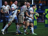 Haydn Thomas (R) of Exeter Chiefs celebrates his try with his team-mates during the LV= Cup match against Worcester Warriors on February 1, 2014