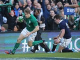Andrew Trimble of Ireland scores a try during RBS Six Nations match between Ireland and Scotland at the Aviva Stadium on February 2, 2014