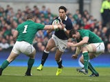 Sean Maitland of Scotland is tackled by Cian Healy and Peter O'Mahony during the RBS Six Nations match between Ireland and Scotland at the Aviva Stadium on February 2, 2014