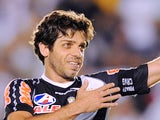 Juninho Pernambucano of Brazil's Vasco da Gama, celebrates his goal --the fifth of his team-- against Bolivia's Aurora, during their Copa Sudamericana football match on October 26, 2011