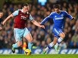 West Ham's Kevin Nolan and Chelsea's Eden Hazard in action during their Premier League match on January 29, 2014