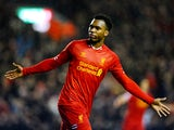 Daniel Sturridge of Liverpool celebrates after scoring his team's second goal during the Barclays Premier League match between Liverpool and Everton at Anfield on January 28, 2014