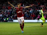 Jamie Paterson of Nottingham Forest celebrates after scoring the opening goal of the game during the Sky Bet Championship match between Nottingham Forest and Yeovil Town at City Ground on February 02, 2014